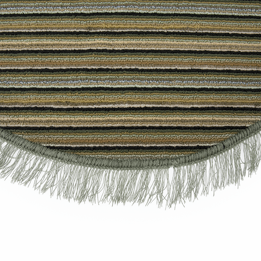 Covor bucatarie Niagara, 100% polipropilena, model oval cu dungi verde-bej, 85 x 135 cm imagine 2021 mathaus