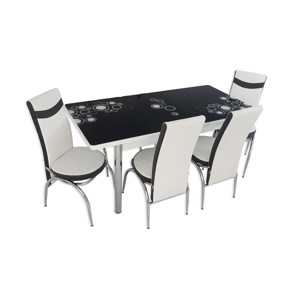 Set masa extensibila cu 4 scaune, MDF, blat sticla securizata, alb + negru imagine 2021 mathaus