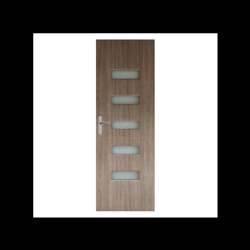 Usa interior cu geam Pamate M104, gri, 203 x 70 x 3,5 cm + toc 10 cm, reversibila imagine MatHaus.ro