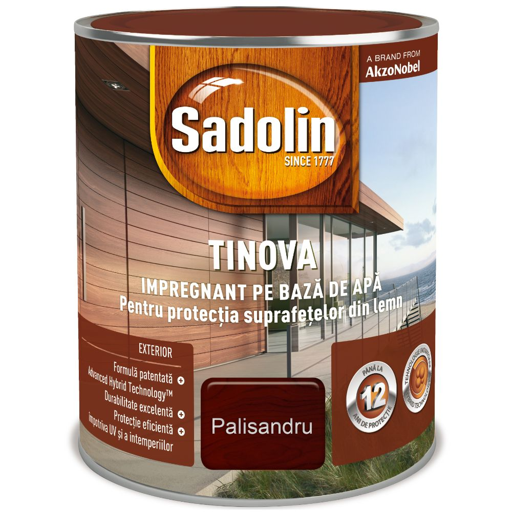 Impregnant pe baza de apa, Sadolin Tinova, pentru lemn, palisandru, 2,5 l mathaus 2021
