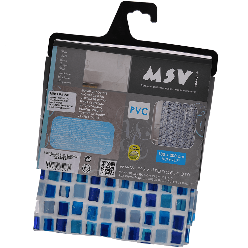 Perdea de dus, model mozaic albastru, PVC, 180 x 200 cm imagine 2021 mathaus