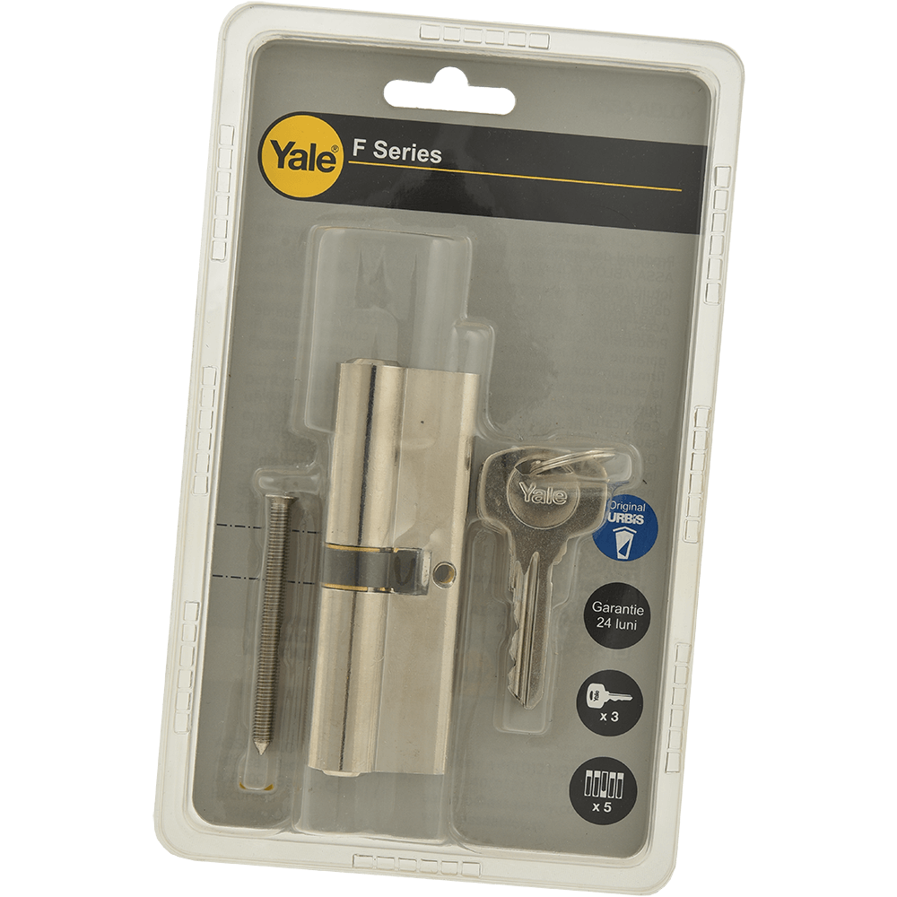 Cilindru de siguranta cu frezare, Yale, alama nichelata, 45 x 45 mm, 3 chei imagine 2021 mathaus