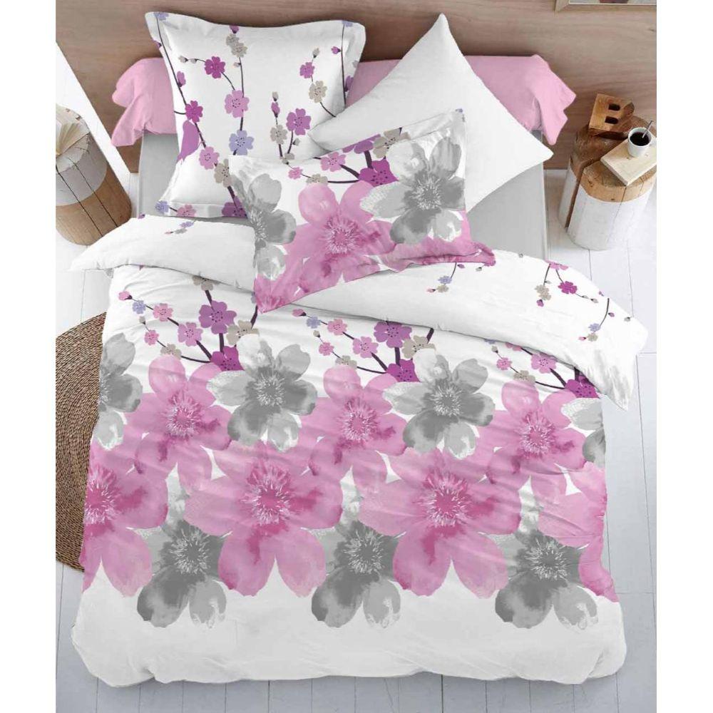 Lenjerie pat Minet Conf, 2 persoane, bumbac 100% , 4 piese, flori roz