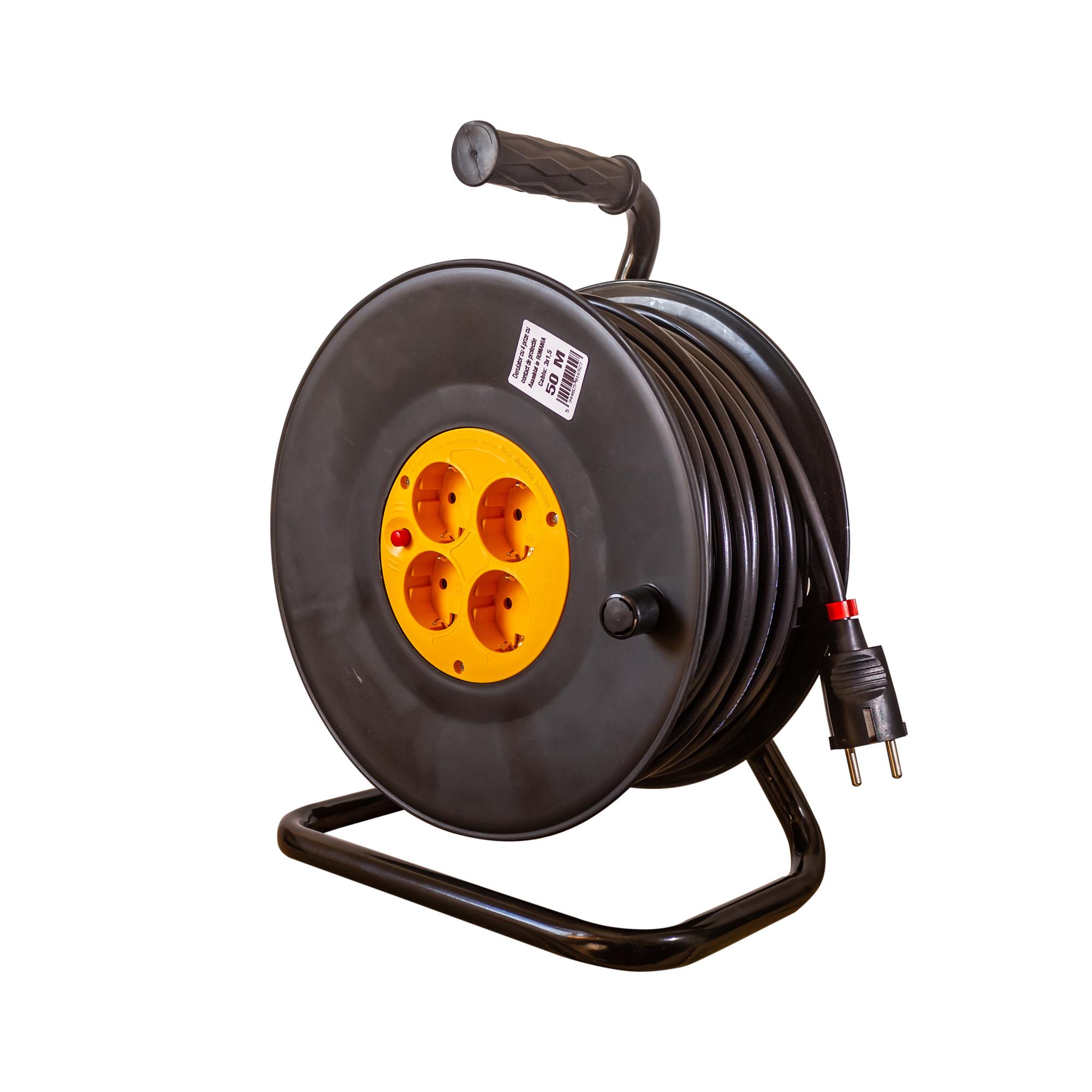 Derulator cablu electric cu 4 prize, Schuko, 3 x 1,5 mmp, 50 m mathaus 2021