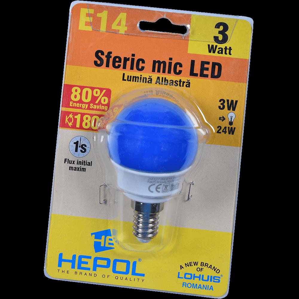 Bec LED Hepol, sferic, E14, 3W, lumina albastra mathaus 2021