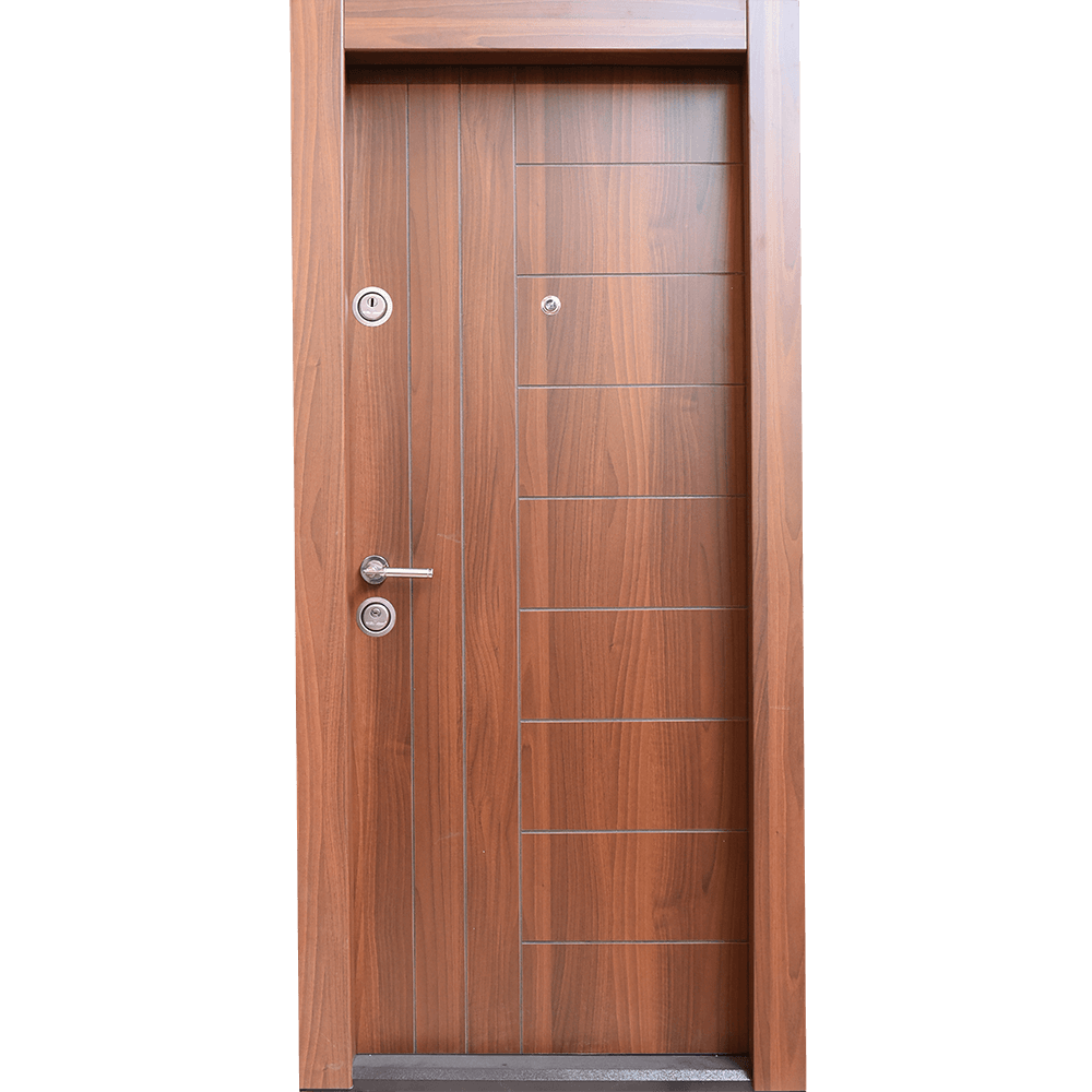 Usa metalica intrare Arta Door 309,  cu fete din MDF laminat, 880 x 2010 mm, deschidere dreapta, culoare nuc mathaus 2021
