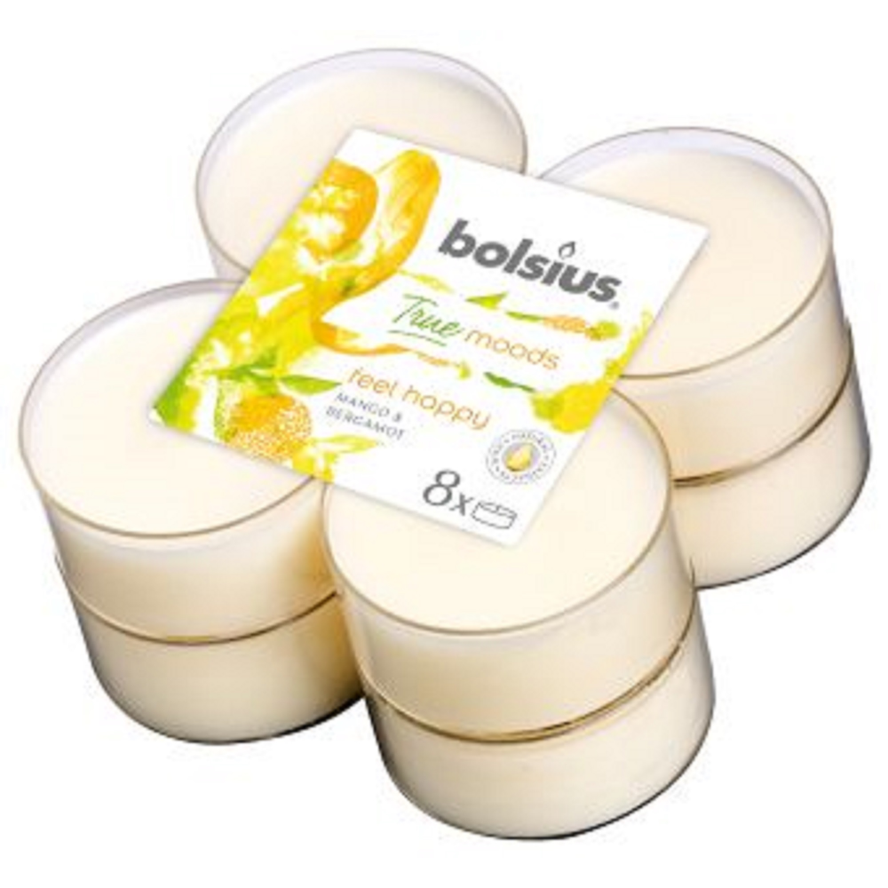 Set 8 lumanari parfumate tip pastila maxi Bolsius, crem, mango si bergamot imagine 2021 mathaus