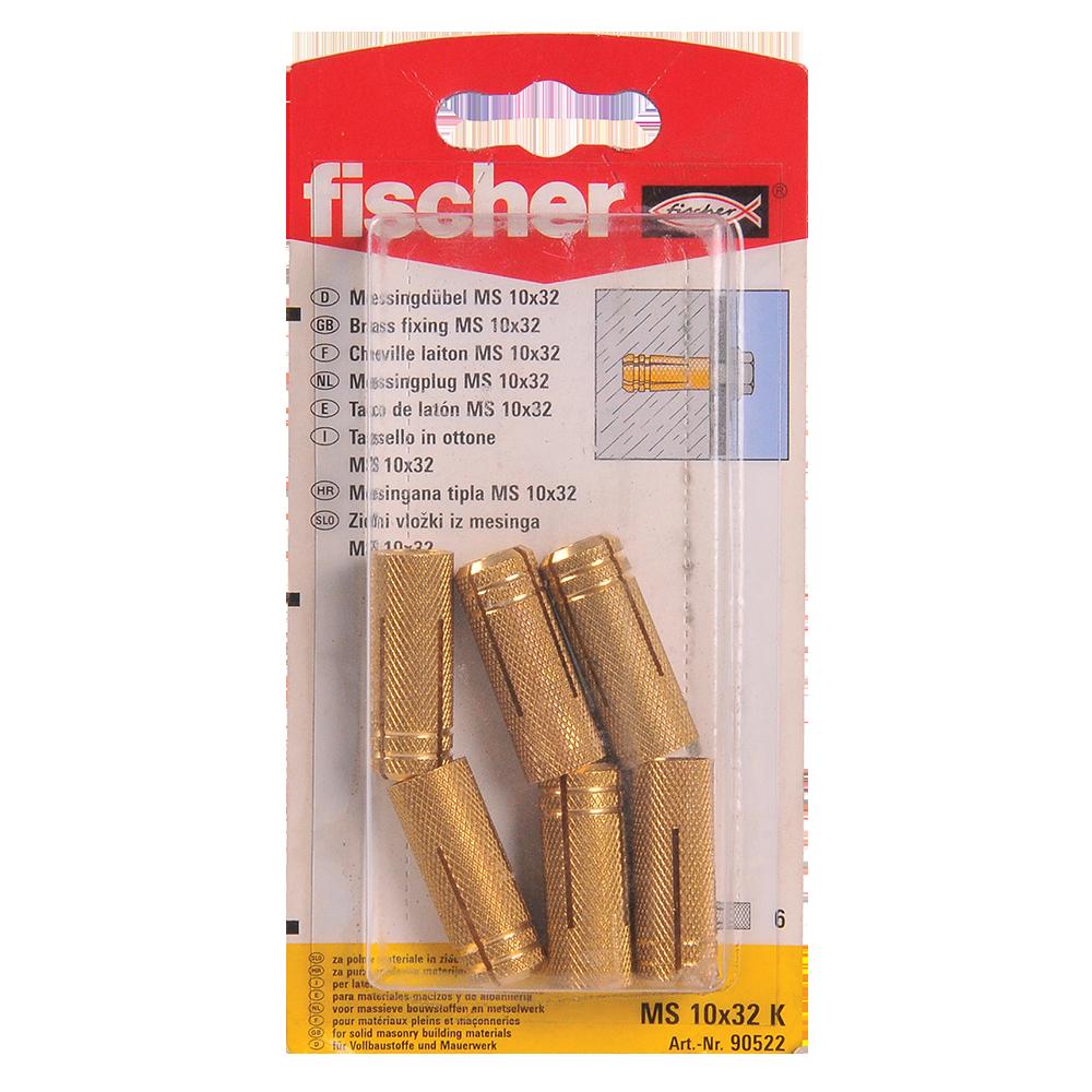 Diblu din alama, Fischer MS, 10 x 32 mm, 6 buc