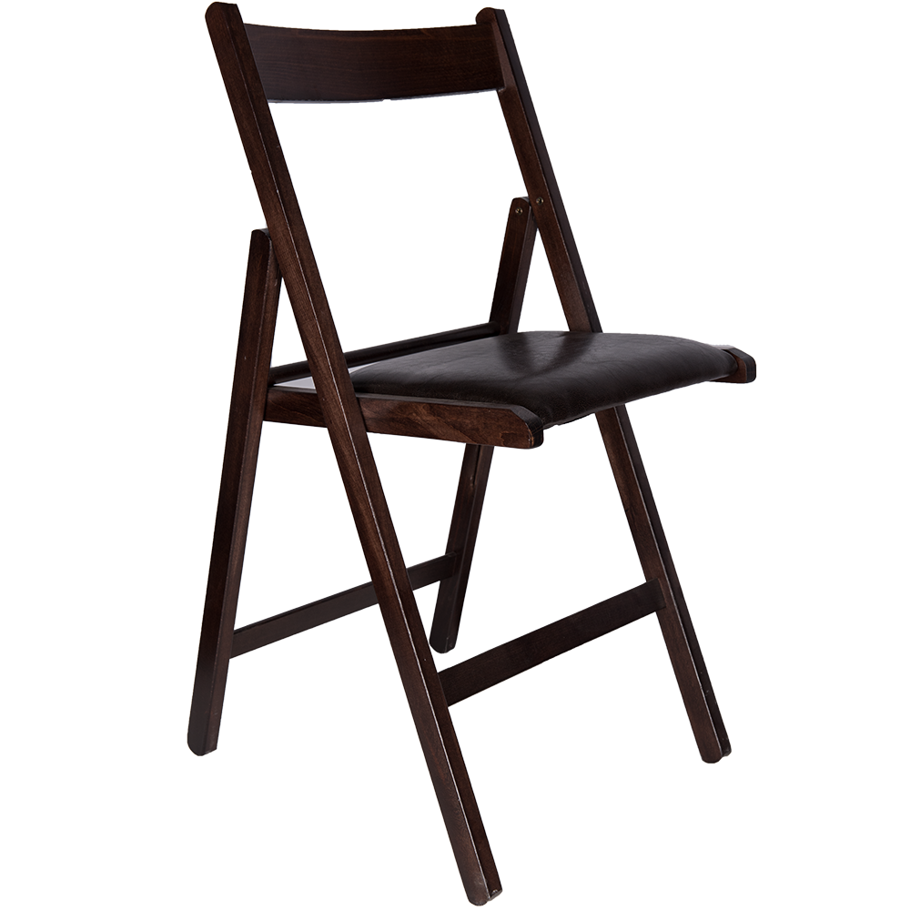 Scaun pliant Basic din lemn de fag, culoarea wenge, sezut tapitat piele eco wenge, 78x43cm mathaus 2021