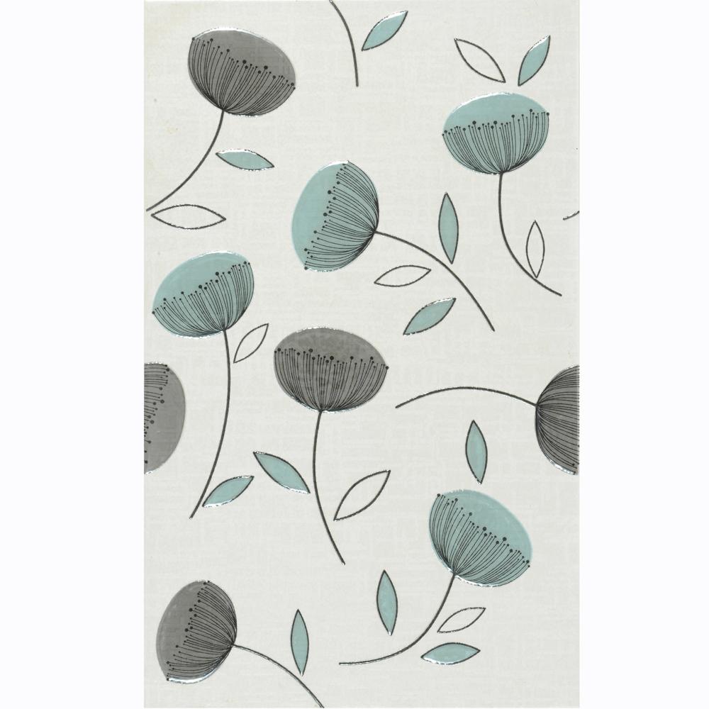 Faianta decorativa Rak Ceramics Atenas, finisaj estetic, albastru, model vegetal, 25 x 40 cm