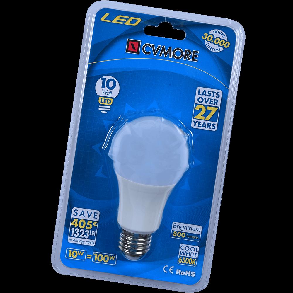 Bec LED global Cvmore, rotund, E27, 10W, 800 lm, lumina alba rece 6500K mathaus 2021