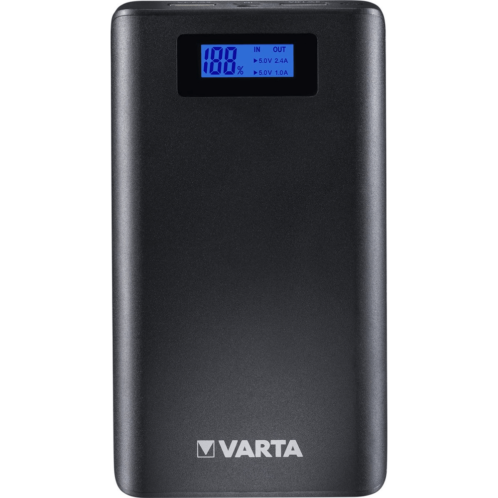 Baterie externa Varta LCD Power Bank 13000mAh, display LCD, port USB 2.4A si USB 1A, 297 g, Li-Ion, 80 x 141 x 22 mm mathaus 2021