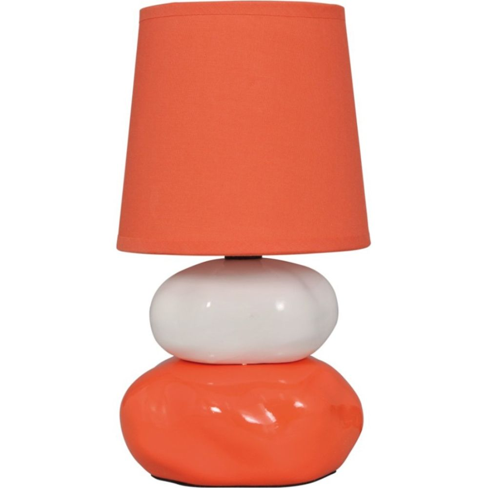 Veioza Omar KL 0502, ceramica orange, textil, 1 x E14, 250 mm imagine 2021 mathaus