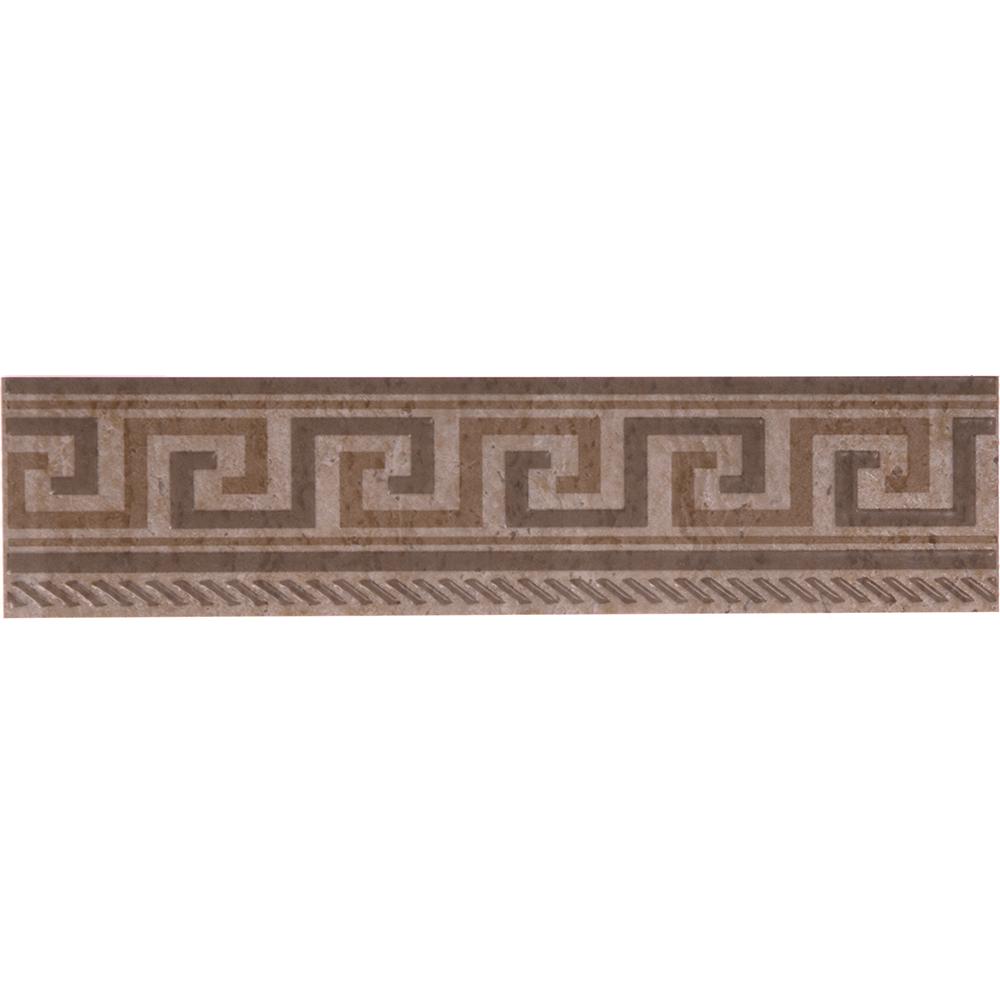 Brau faianta maro geometric Travertine, 6,5 x 25 cm