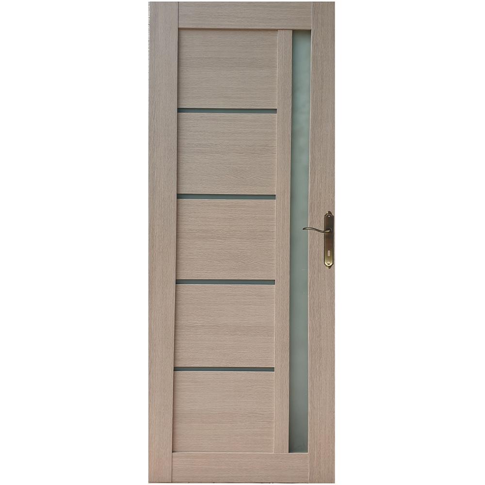 Usa interior cu geam Pamate U72, crem, 203 x 80 x 3,5 cm + toc 10 cm, reversibila