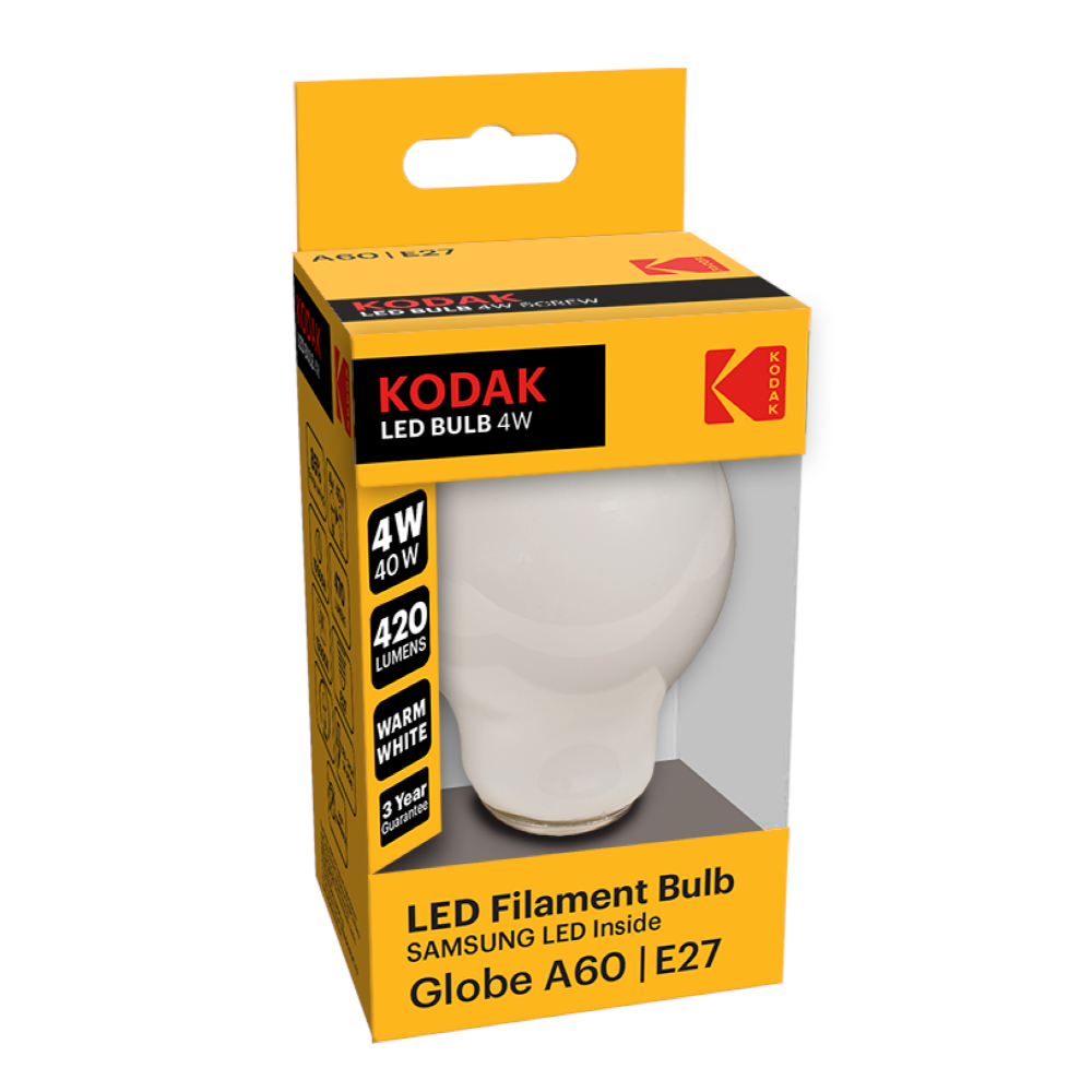 Bec LED Kodak A60, rotund, E27, 4 W, 600 lm, lumina calda 2700-3000K mathaus 2021