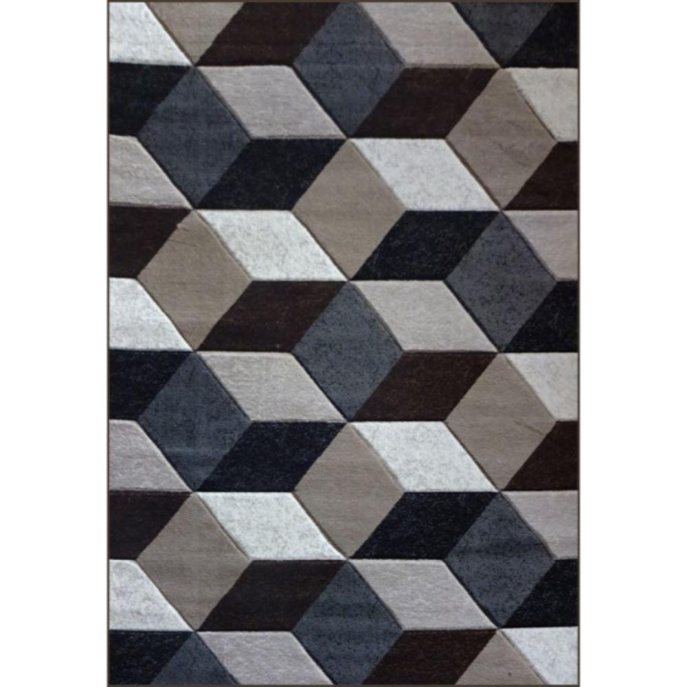 Covor modern Geo Hand Carved 7684, polipropilena heat set, model abstract gri, 160 x 220 cm mathaus 2021