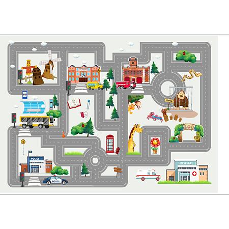 Covor copii Kids Play Map, model cu harta poliester, 70 x 140 cm