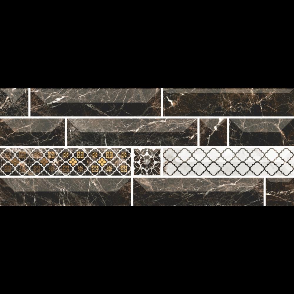 Faianta decorativa Atlantis, finisaj estetic, negru, model geometric cu aspect de marmura, 20 x 50 cm