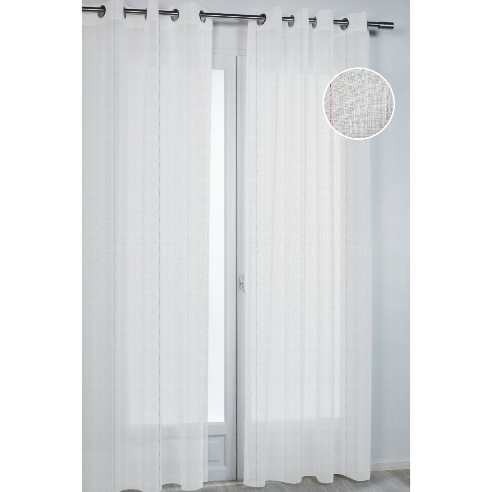 Perdea Bijoux 3847 din 100% poliester, alba cu dungi verticale rosii/argintii, 140 x 260 cm imagine 2021 mathaus