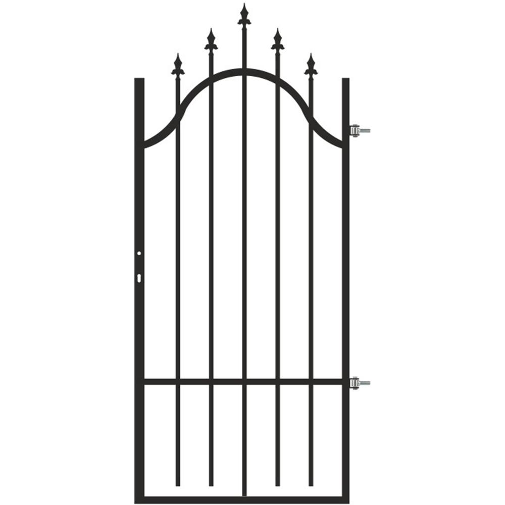 Poarta pietonala cu deschidere dreapta Cronos, otel, negru Jet Black, 0,9 x 1,7 - 2 m imagine MatHaus