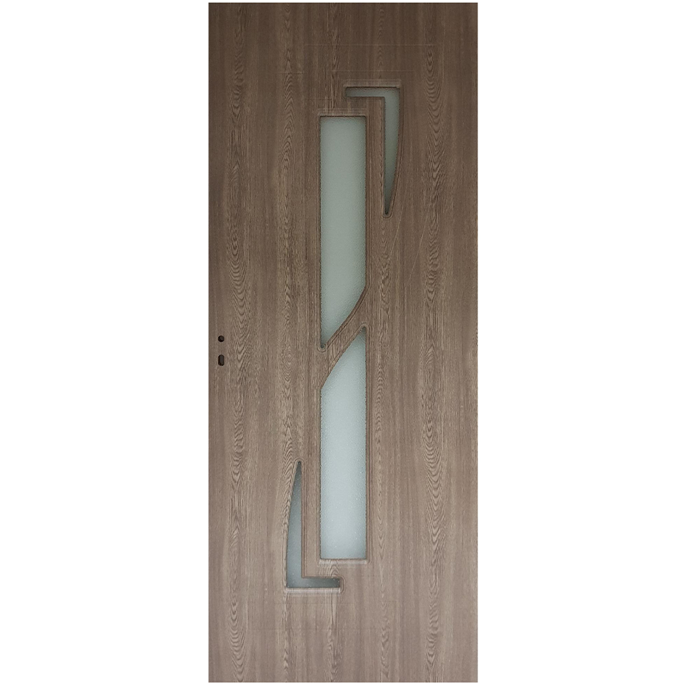 Usa interior cu geam Pamate M042, gri, 203 x 60 x 3,5 cm + toc reglabil, reversibila