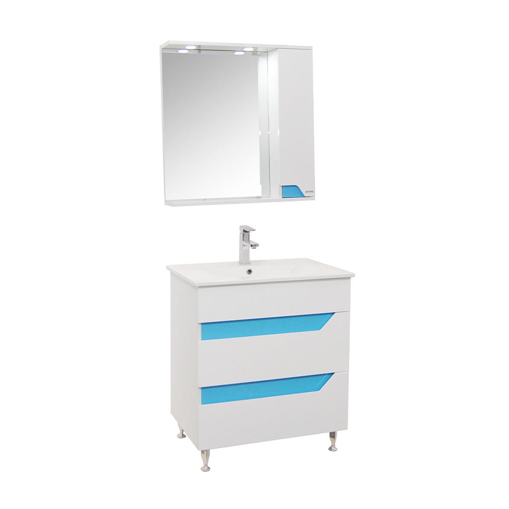 Set mobilier baie Badenmob Seria 022 - 70, masca + lavoar + oglinda, albastru imagine 2021 mathaus