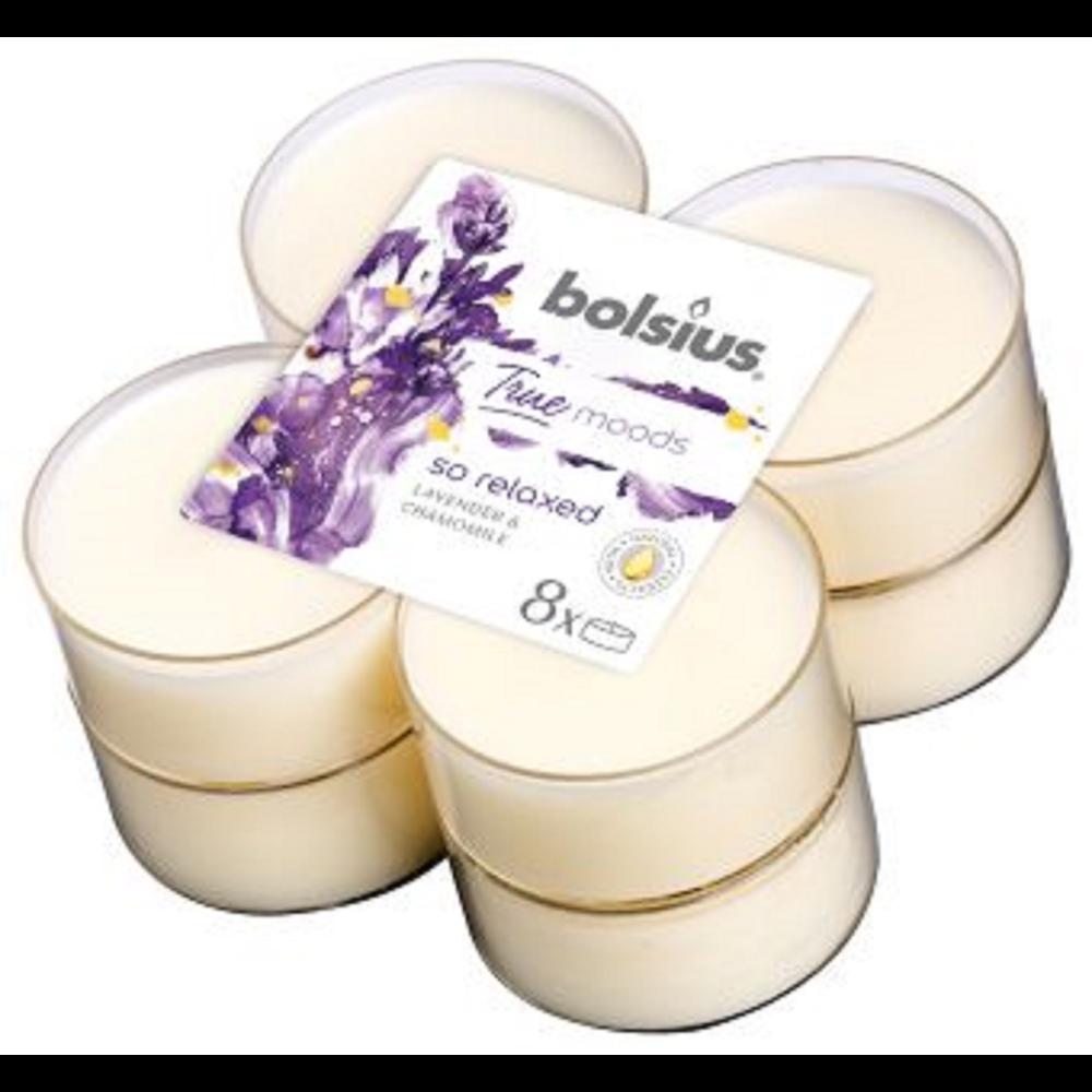 Set 8 lumanari parfumate tip pastila maxi Bolsius, crem, lavanda si musetel imagine 2021 mathaus