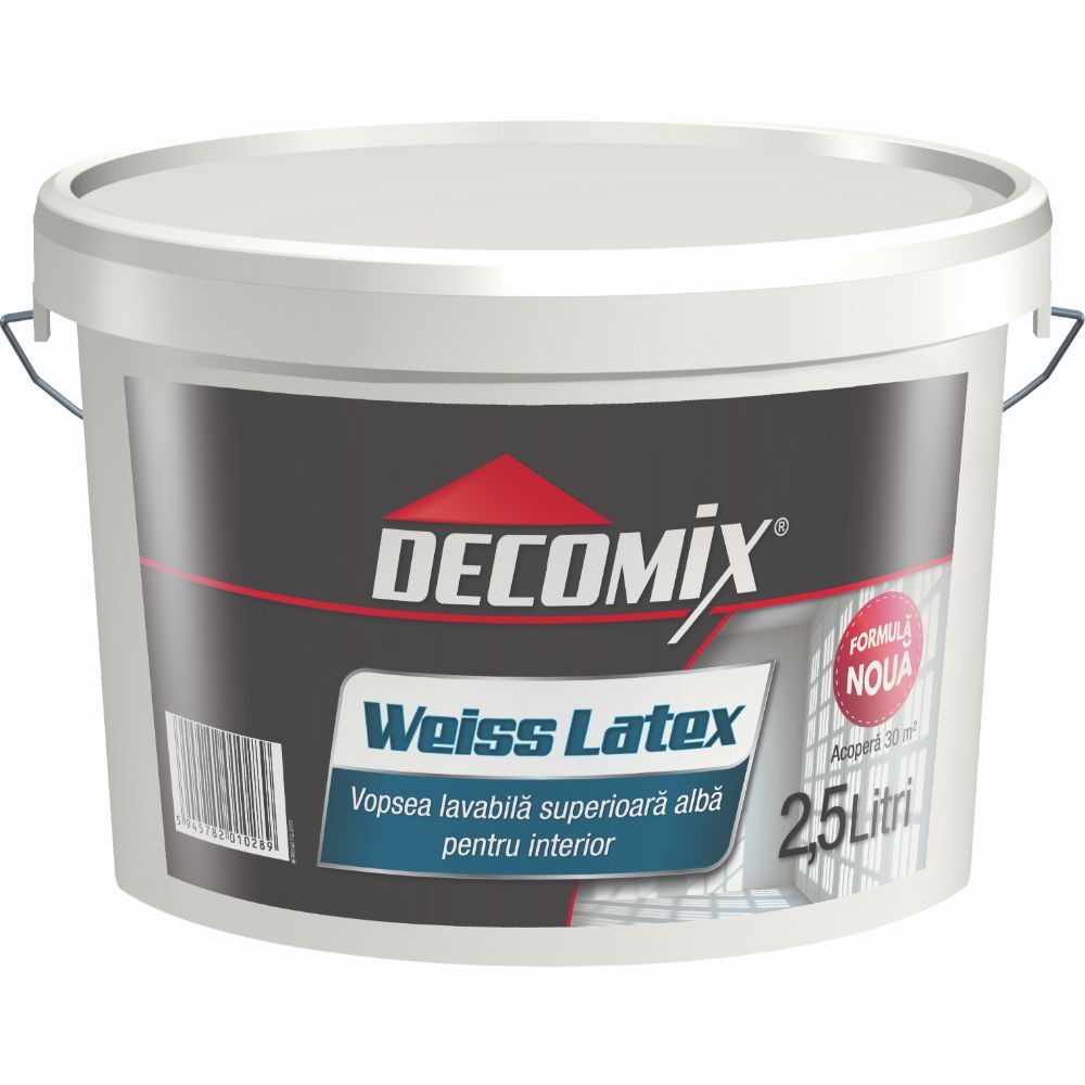 Vopsea lavabila interior, Decomix WeissLatex, alba, 2.5l