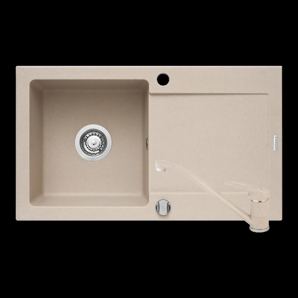 Chiuveta de bucatarie + baterie Minuet, 76 x 44 mm, crem imagine 2021 mathaus