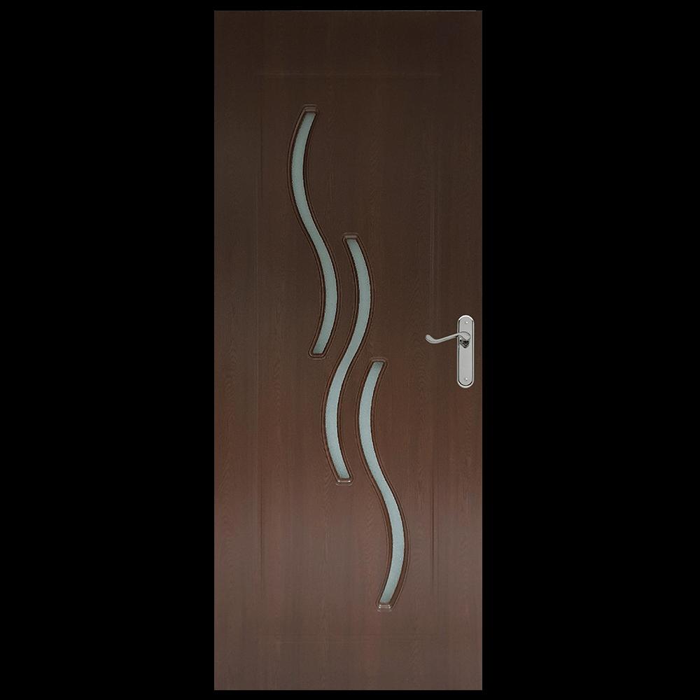 Usa de interior cu geam Pamate M107, stejar auriu, 200 x 80 cm + toc 10 cm
