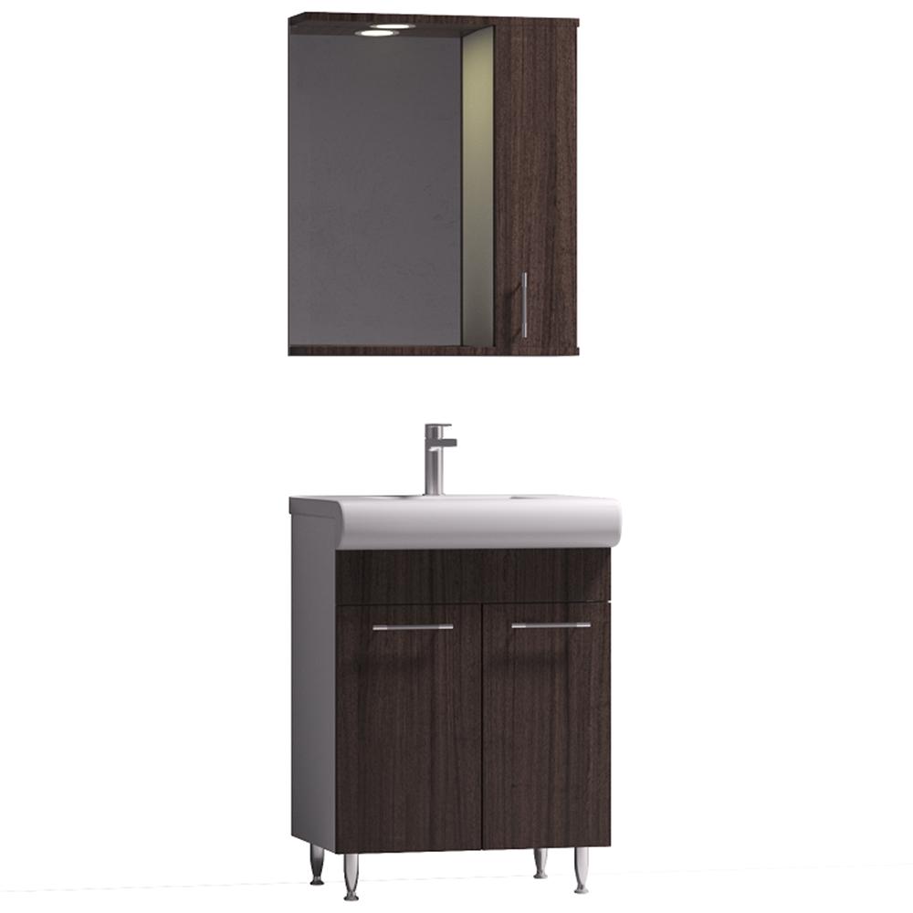 Set mobilier baie Badenmob Seria 004, masca + lavoar + oglinda, wenge imagine 2021 mathaus