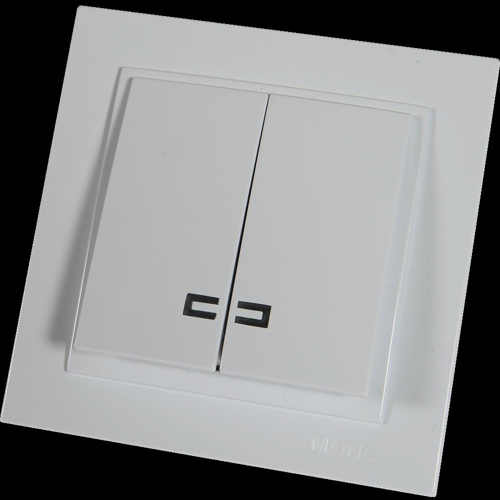 Intrerupator dublu Mono Electric Despina, LED, ST, alb