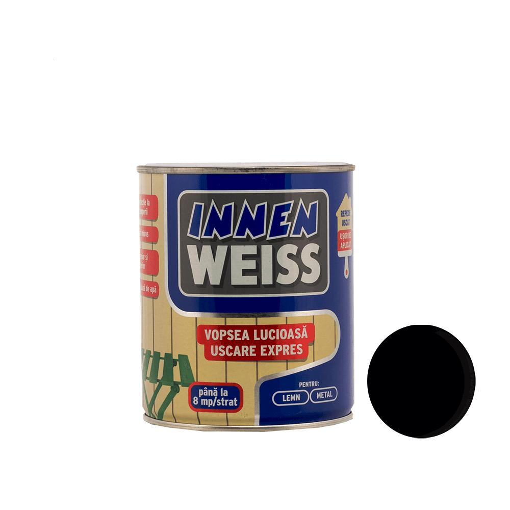 Vopsea lucioasa Innenweiss, pentru lemn/metal, interior/exterior, uscare expres, negru, 0,6 l imagine MatHaus