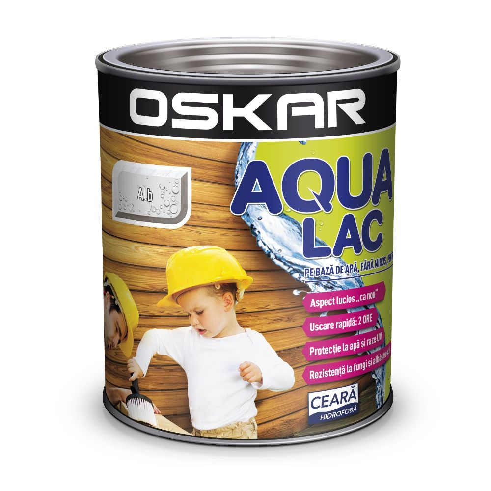 Lac lemn Oskar Aqua Lac, alb, interior / exterior, 0,75 l