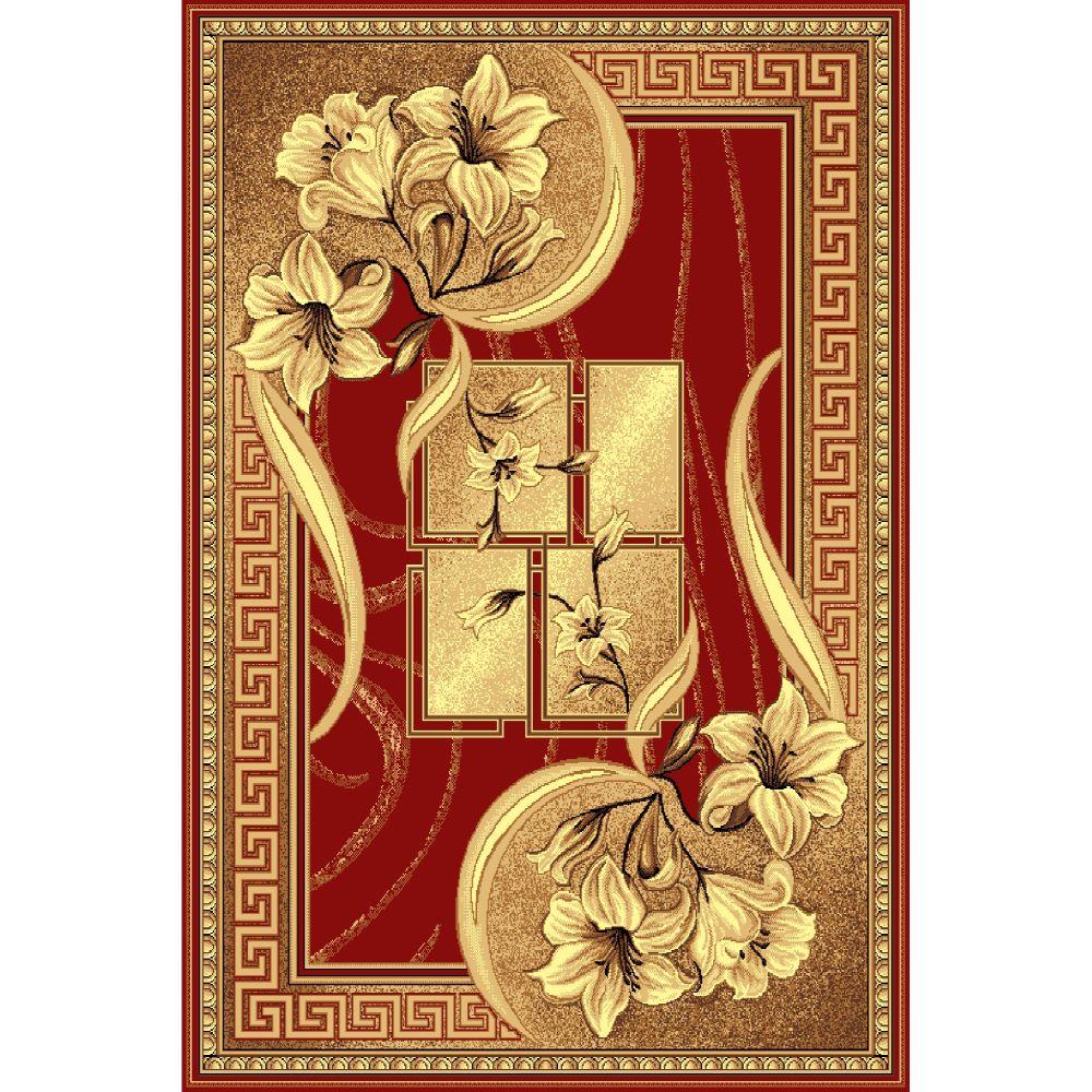 Covor clasic Gold 365/22, polipropilena BCF, bej-maro si rosu, 100 x 200 cm