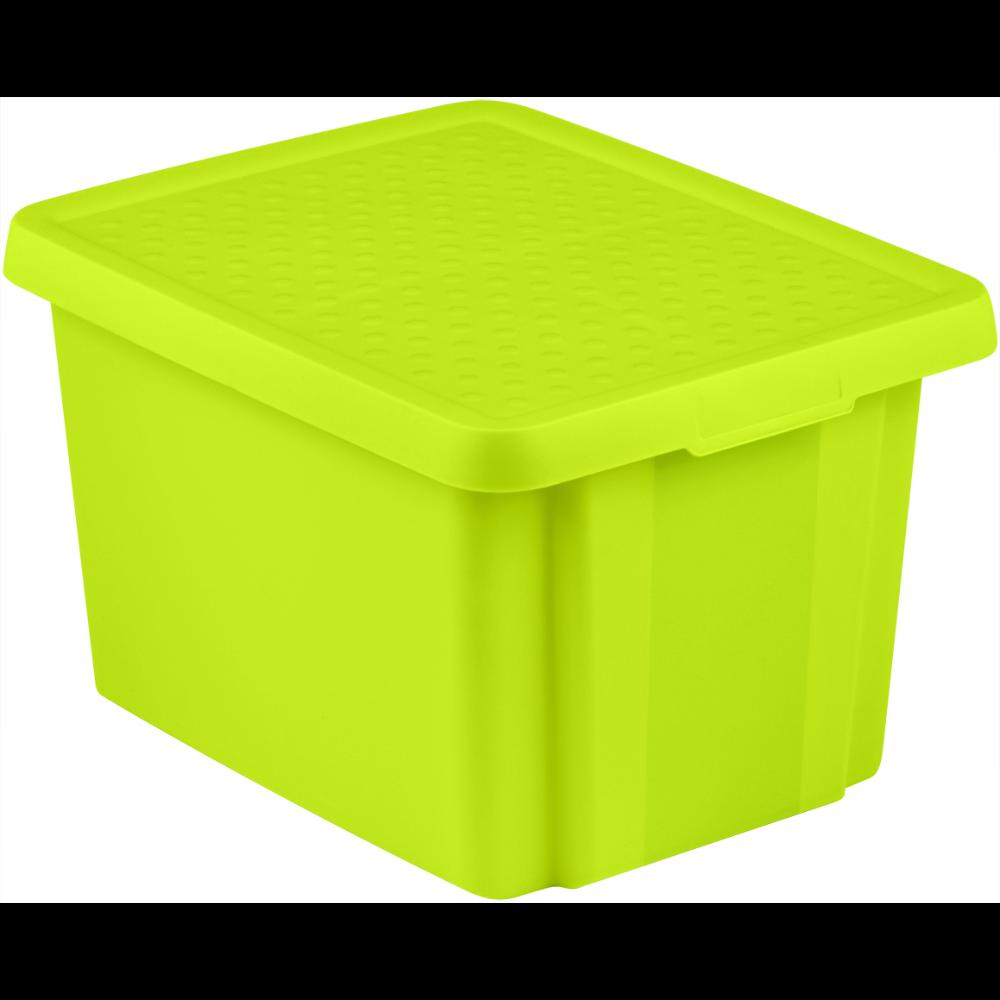 Cutie depozitare cu capac, Essentials, verde, 26 L imagine MatHaus.ro