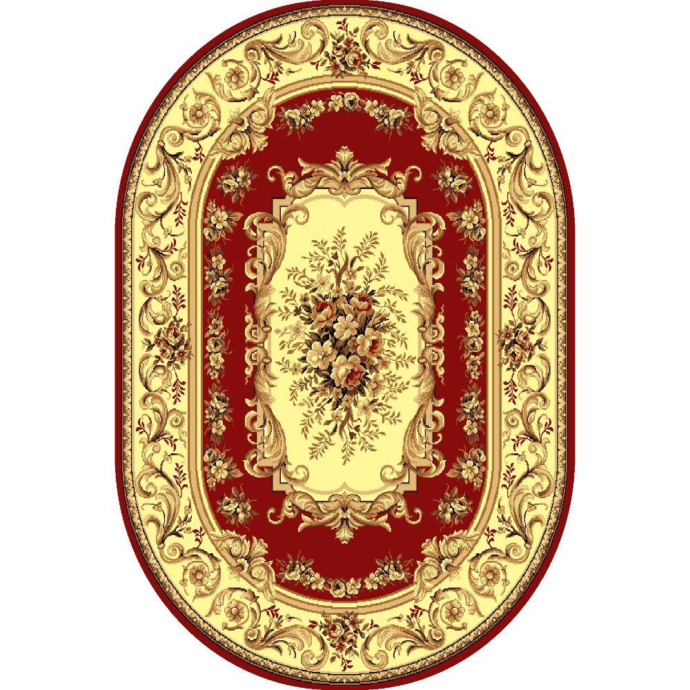 Covor clasic Gold 235/22, polipropilena BCF, bej-maro si rosu, 60 x 110 cm imagine 2021 mathaus