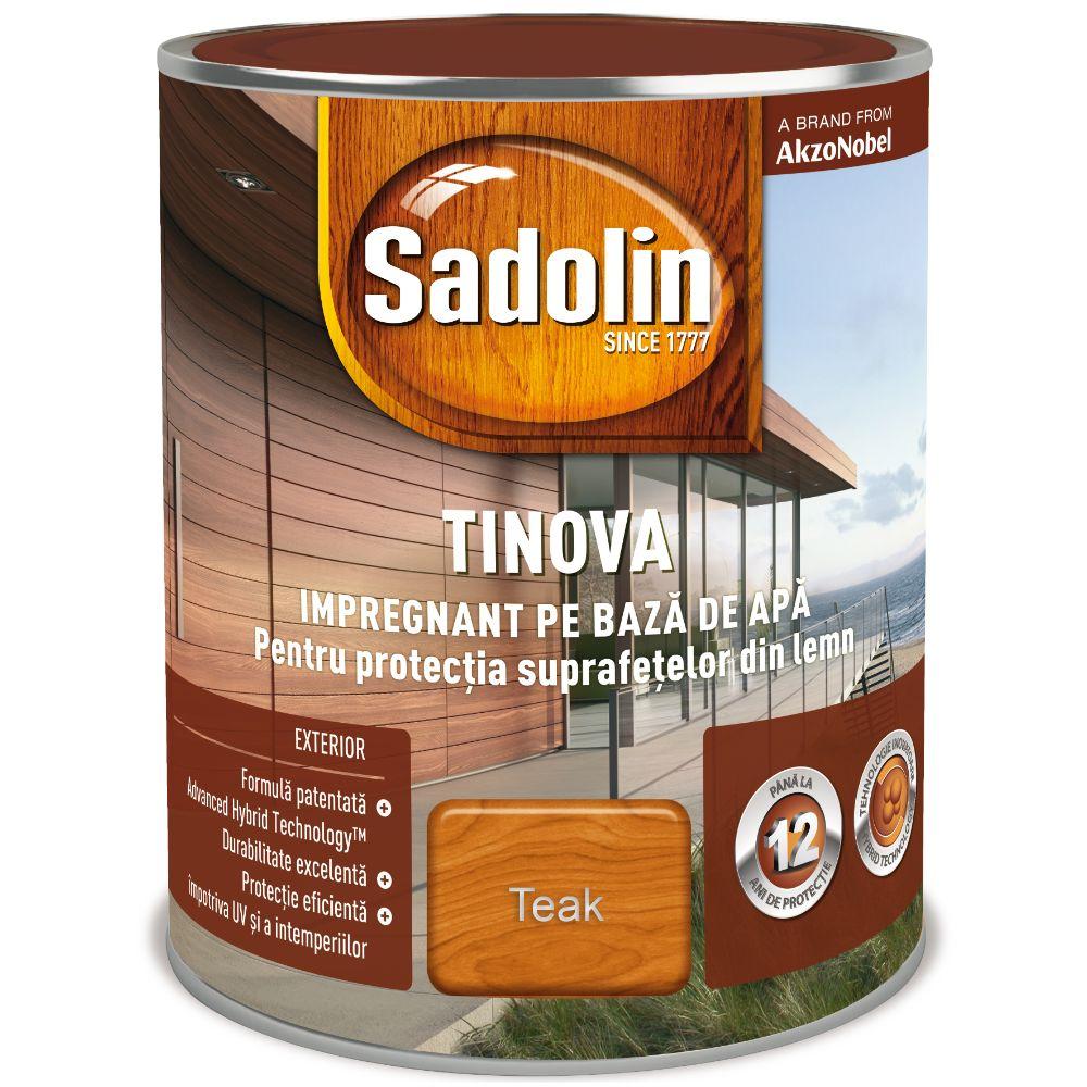 Impregnant pe baza de apa, Sadolin Tinova, pentru lemn, teak, 0,75 l imagine 2021 mathaus