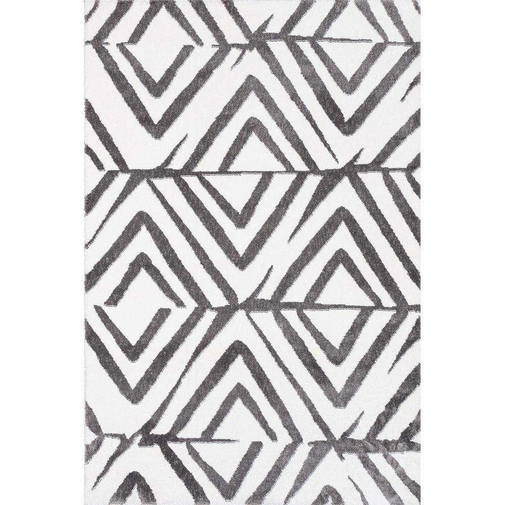 Covor modern Sintelon Creative O 08WGW 1K, poliester, model geometric, alb, gri, 70 x 140 cm imagine MatHaus