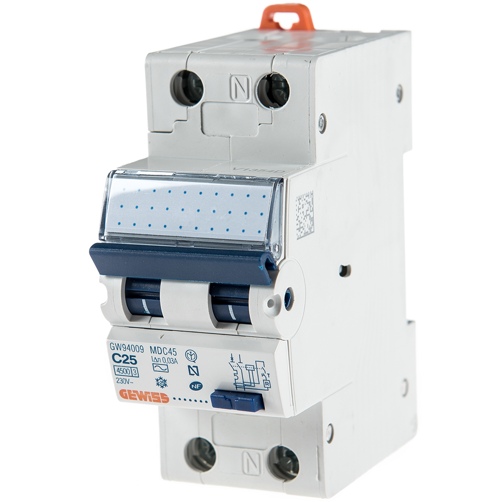 Intrerupator automat diferential GW94009, 1P+N, 25A, 30mA Gewiss mathaus 2021