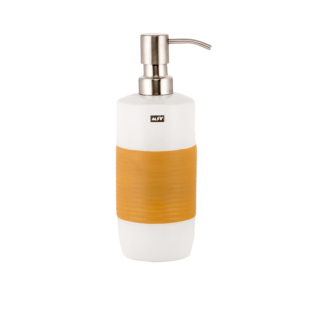 Dozator sapun lichid RomTatay Moorea, ceramica, portocaliu, 20,5 x 7,5 cm
