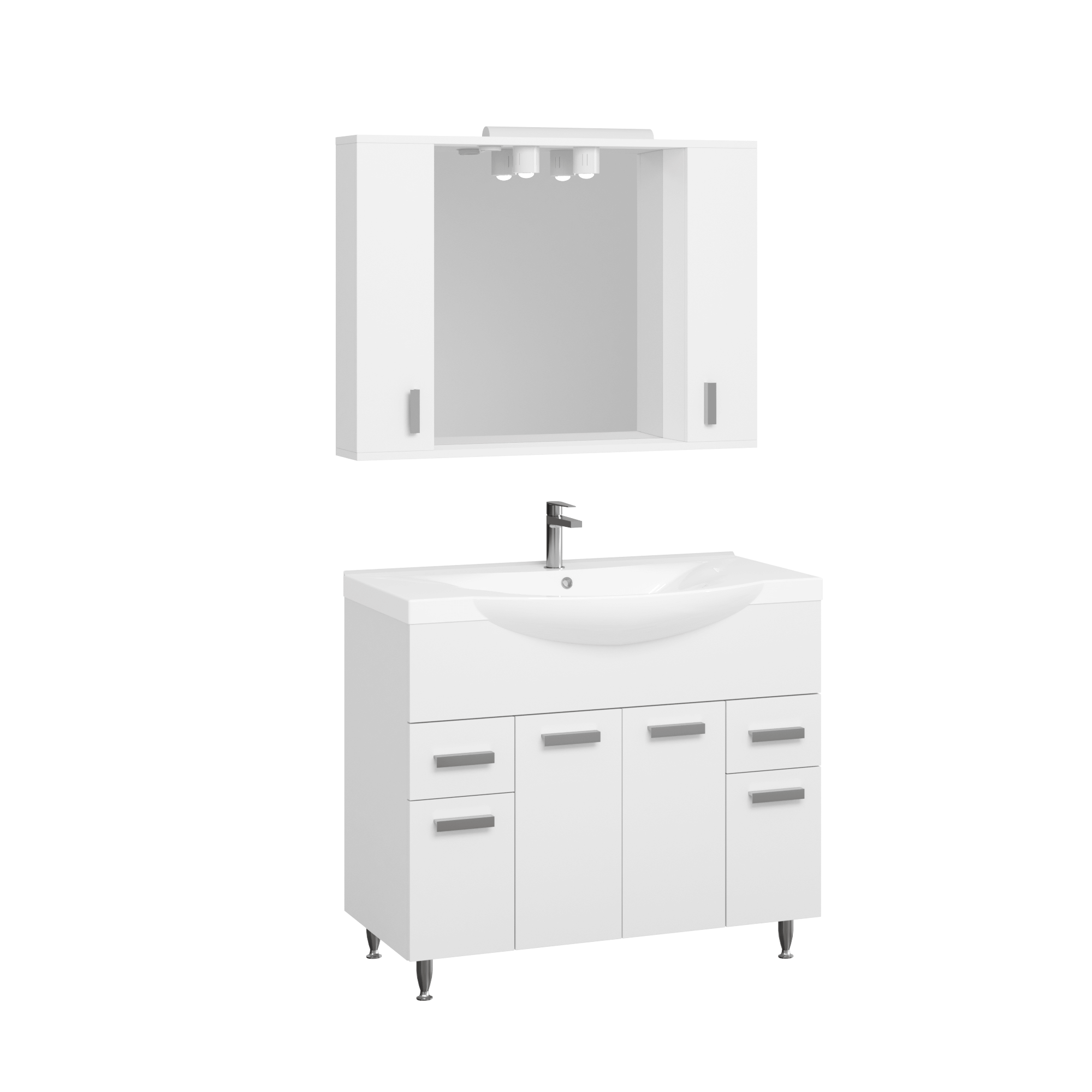 Set Mobila baie Badenmob Seria 169, PAL + MDF, baza, lavoar, oglinda, alb,  100 cm imagine 2021 mathaus