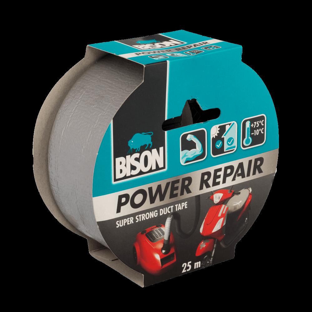 Banda adeziva Bison Power Repair, texturata pentru reparatii, 25 m x 50 mm, gri