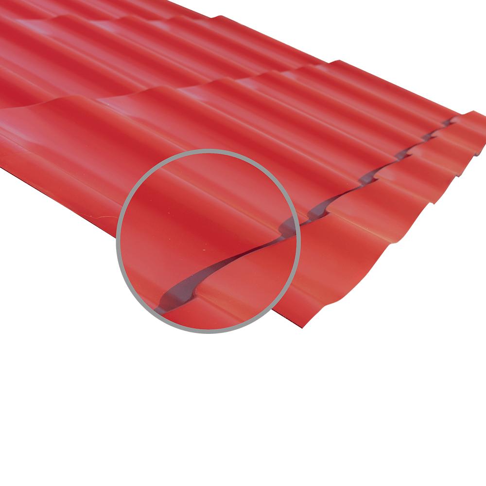 Tigla metalica Durako Riva, rosu, RAL 3011, lucios, grosime 0,45 mm, 0,395 x 1,180 m mathaus 2021