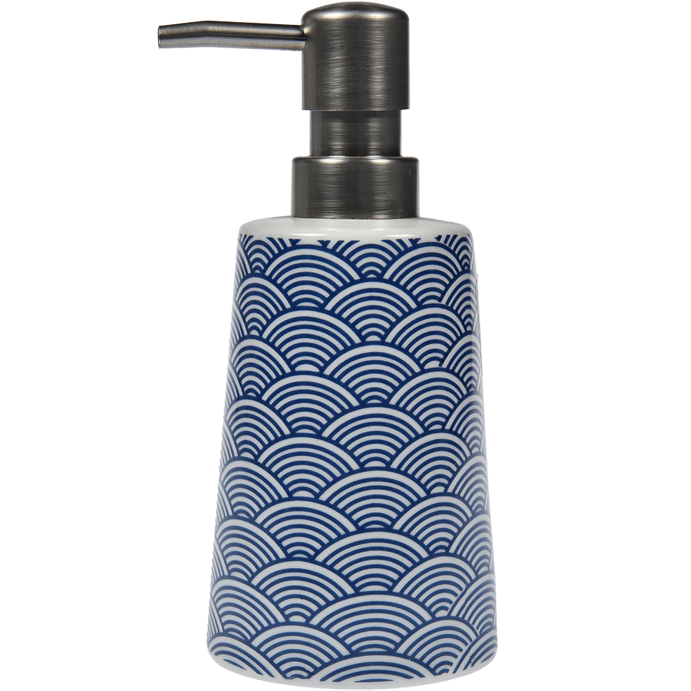 Dozator sapun lichid Romtatay Bento, ceramica, bleu, 7,5 x 7,5 x 16,5 cm