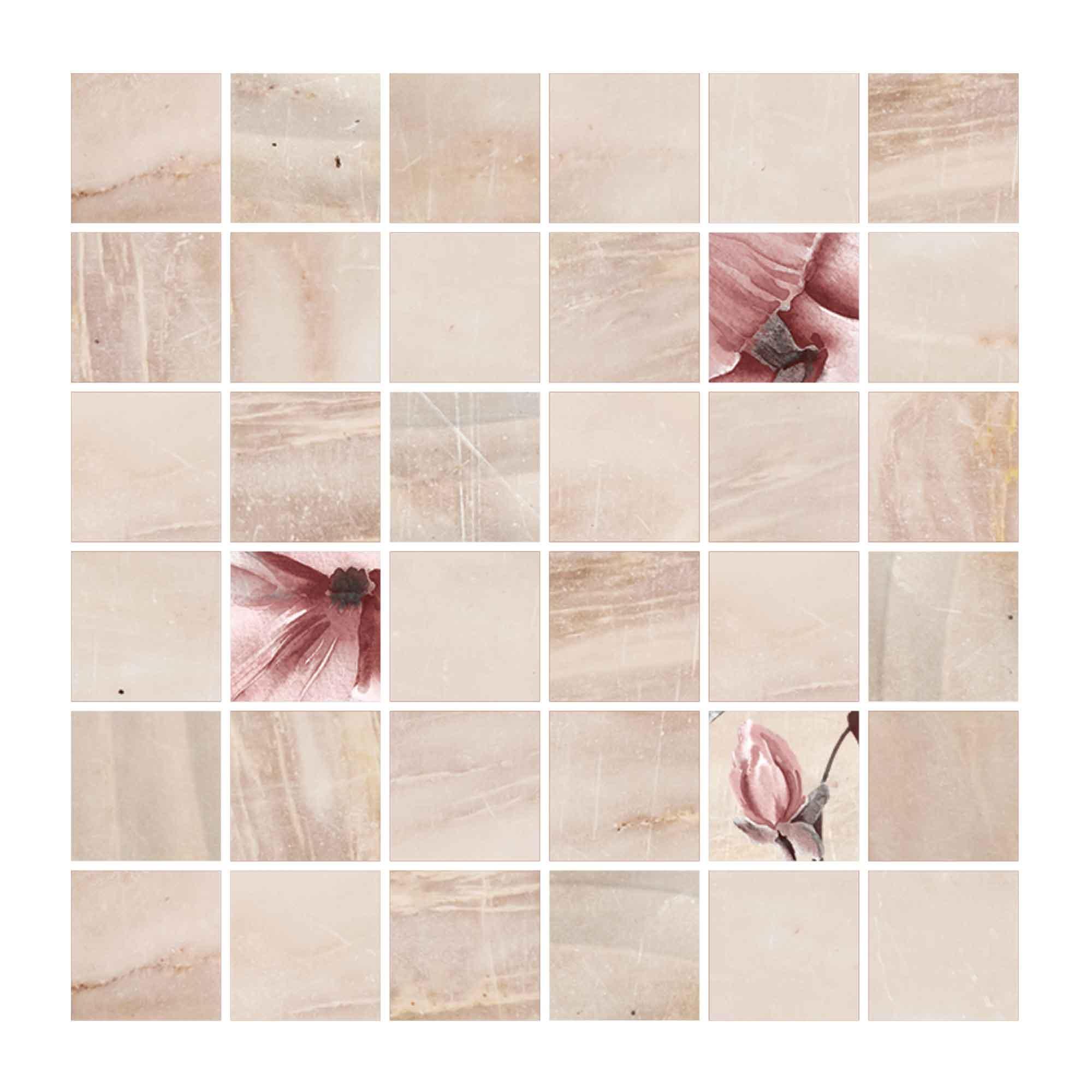 Faianta Cesarom Mozaic Soft bej, model mosaic, patrata, finisaj lucios, 30 x 30 cm imagine 2021 mathaus