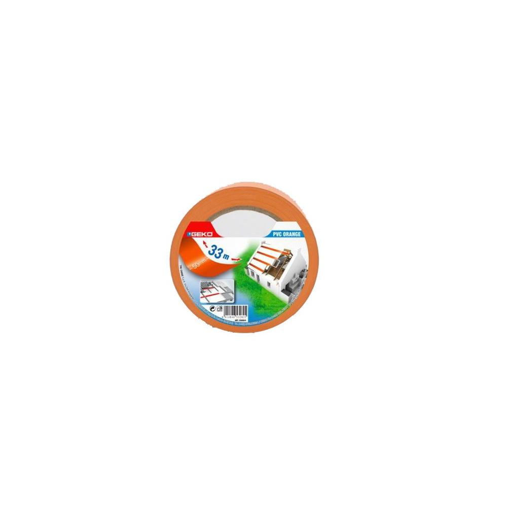 Banda adeziva, PVC, 50 mm x 33 m, portocaliu