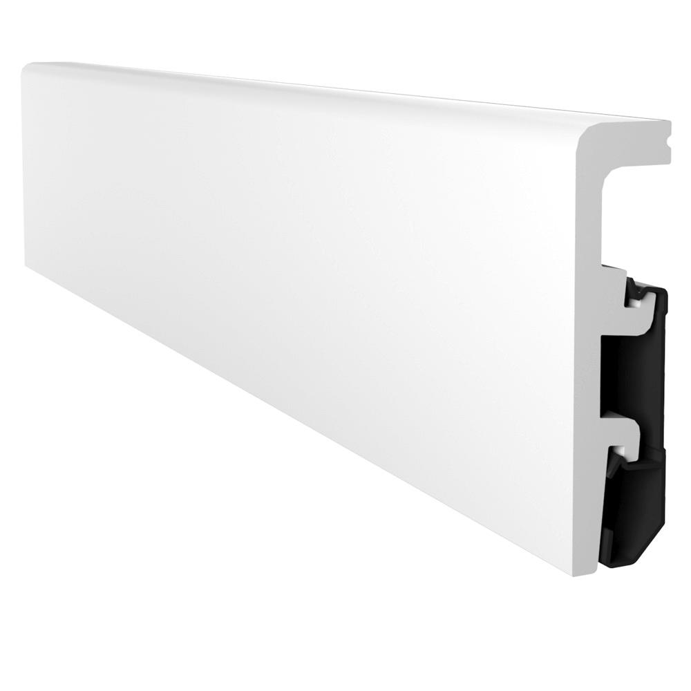 Plinta podea din duropolimer, alb, Vega P0810, 2400x80x20 mm imagine MatHaus
