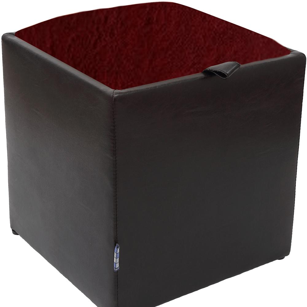 Taburet Box visiniu/ wenge Ip, 37 x 37 x 41 cm imagine MatHaus.ro